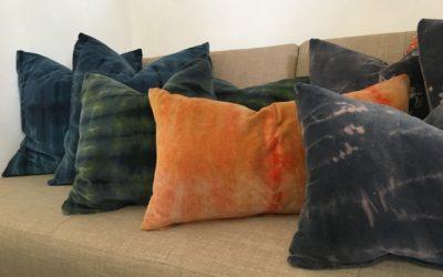 elegant hand dyed velvet pillows